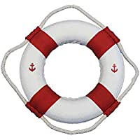 [ハンプトンノーティカル]Hampton Nautical Classic White Decorative Anchor Life Ring with Red Bands, 6 6 Red New Anchor [並行輸入品]