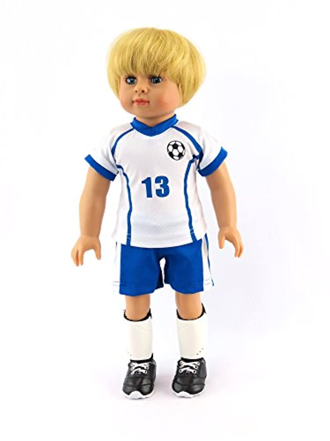 Caden The Super Soccer Player 4-piece Outfit with Boy Doll | Fits 18