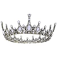 Frcolor Wedding Full Tiara Crown Bridal Rhinestone Crown Headband for Pageant Wedding Bridal Beauty Contest Prom Party (White)