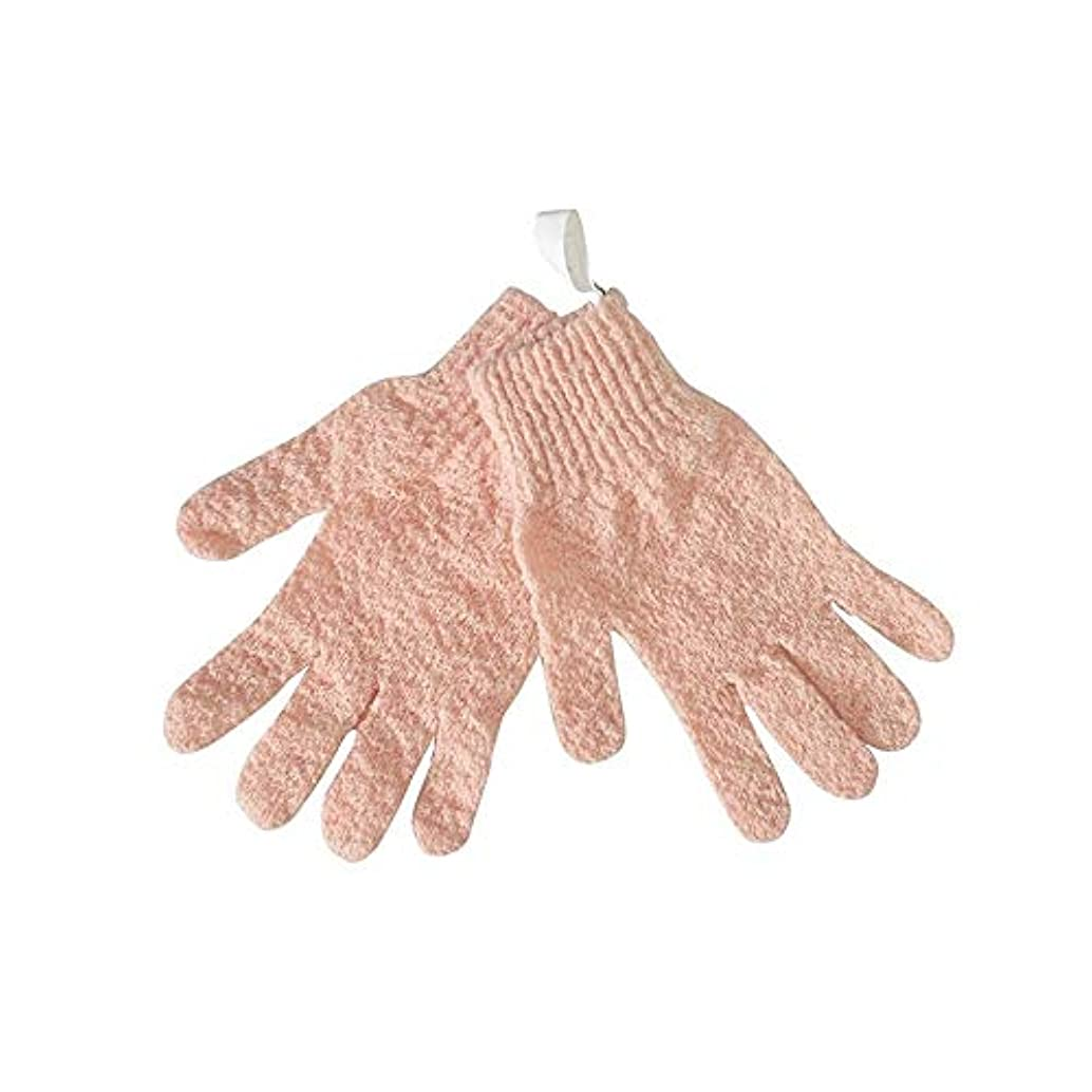 弓左誠実さBTXXYJP シャワー手袋 お風呂用手袋 あかすり手袋 ボディブラシ ボディタオル やわらか バス用品 男女兼用 角質除去 (Color : Pink)