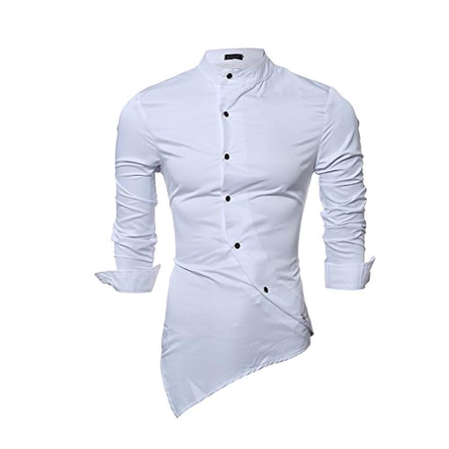 弱めるあそこ説明的Honghu メンズ シャツ 長袖 シルク 無地 スリム 立て衿 スタントカラ ホワイト 2XL 1PC