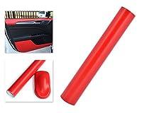 DSstyles 100 x 30 cmファイングレインレザーテクスチャビニールラップカーステッカーラップロールフィルム自己接着肌 - 赤