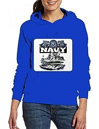 米海軍航空母艦とジェット機 Women Pocket Hoodie Sweater レディーズ トップス パーカー アクティブウェア