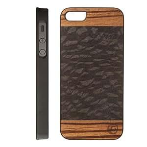 【日本正規代理店品】Man&Wood iPhone SE/5s/5 ケース 天然木 Harmony Cacao ブラックフレーム バータイプ I1706i5