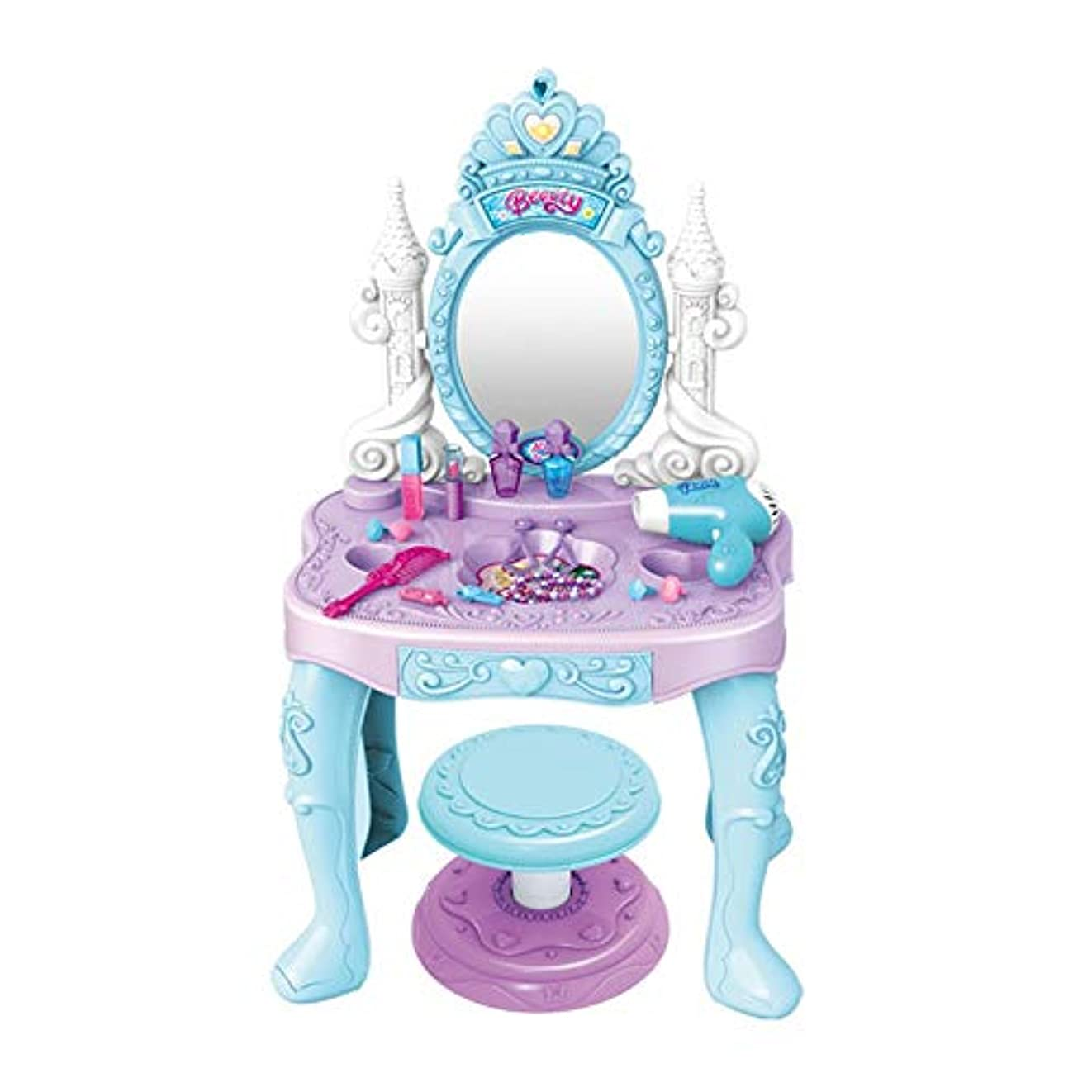 脱獄穿孔する表向きドレッサー おもちゃ 子供たちは化粧テーブルスツールプリンセスと遊ぶセットをふり (色 : 青, サイズ : 83.5*46*67.5cm)