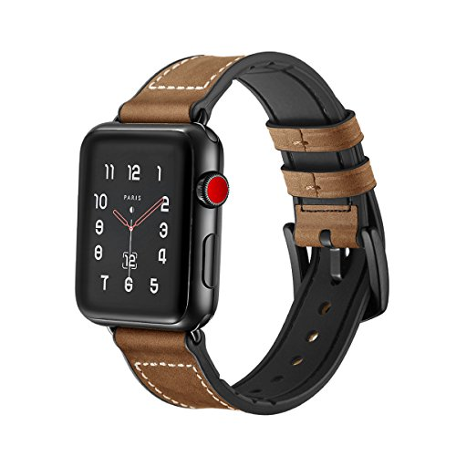 Apple Watch Band Wollpo® 本革 交換バンド 高級 レザー ビジネス用 腕時計ベルト Real Leather Watchband for Apple WatchApple Watch 本革 交換バンド 高級 レザー ビジネス用 腕時計ベルト Real Leather Watchband for Apple Watch (42mm, ダークブラウン)