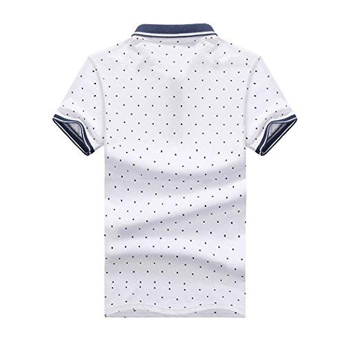 SemiAugust(セミオーガスト)アウター メンズ ポロシャツ 半袖 水玉柄 ゴルフウェア おしゃれ シャツ キレイメ ゴルフ カジュアル ボダンダウン ストリート (ホワイト 2XL)