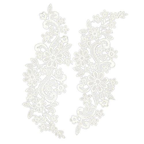 ノーブランド品 DIY 手芸用 花柄 レース アップリケ 刺繍 結婚式 パッチ 装飾品 全2色選べる - 白