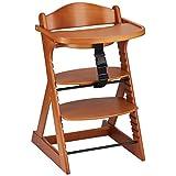 ベビーチェア テーブル付き 木製椅子 ハイチェア 14段階調節可能 ベビーガード 安全ベルト付き 幅49×奥行57×高さ80cm チェリーブラウン