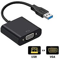 USB VGA 変換 アダプター USB3.0 VGA 変換ケープル USB マルチディスプレイアダプタ テレビグラフィックカード 設定不要 1080P 高解像度 VGA 拡張ケーブル USB3.0 to VGA Windows 10/8.1/8/7など対応 (ブラック)