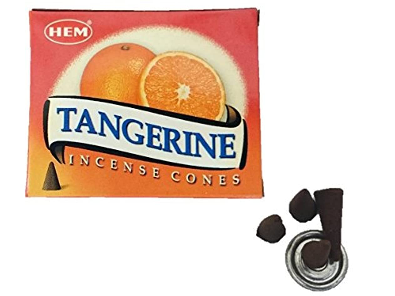 乳白色雄弁矢HEM(ヘム)お香 タンジェリン(オレンジ) コーン 1箱