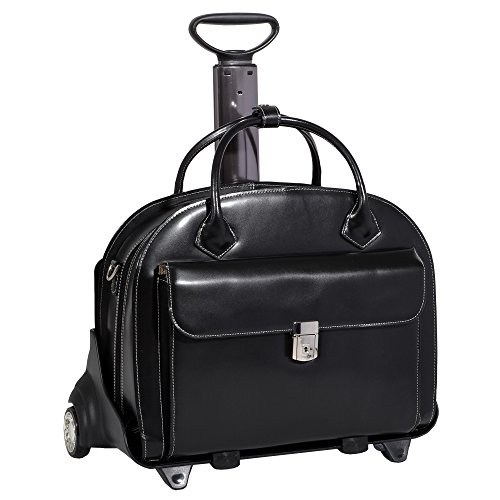 Mcklein 94365 Glen Ellyn W Series Leather Detachable-Wheeled Ladies Case with Removable Sleeve - Black
