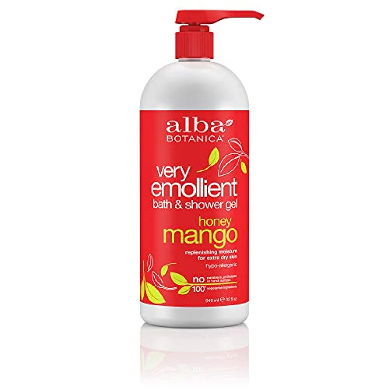 ミシン化学下手Alba Botanica, Natural Very Emollient Bath & Shower Gel, Honey Mango, 32 fl oz (946 ml)