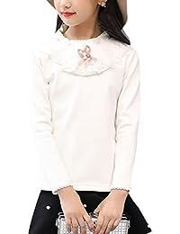 Zhhlaixing 子供服 Kids Girls Lace Collar Cotton Long Sleeve T-shirts ロングスリーブTシャツ Shirt Fleece Lined Tops