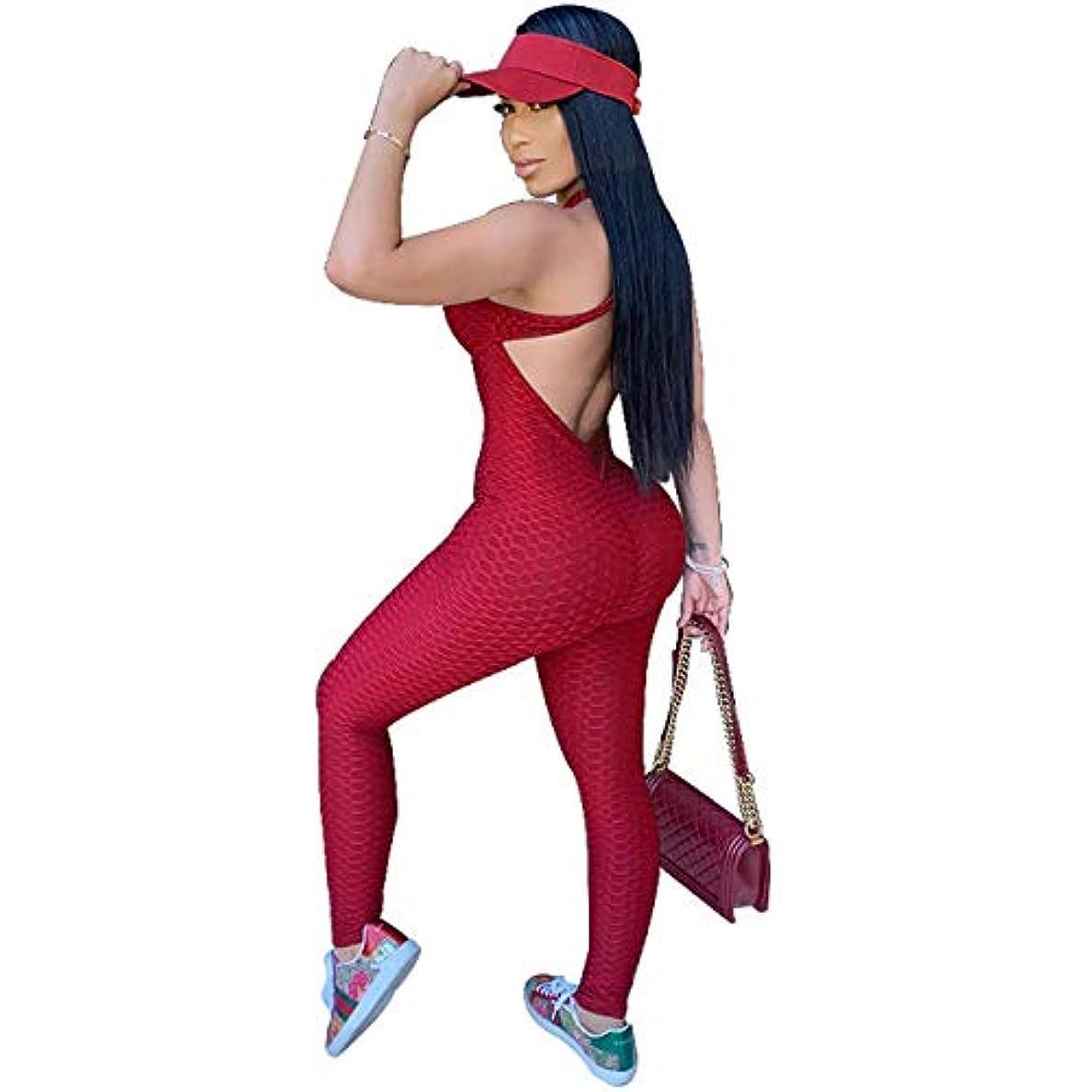 教授調和グレートオークXIAOTING 女性のためのシャーリングバットリフトヨガジャンプスーツレギンス、ハニカムテクスチャ背中の開いたスポーツ包帯ロンパースPlaysuit M2857 (Color : Rose red, Size : Large)