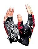 (ハイハイワールド)HHW サイクリング グローブ 自転車 手袋 衝撃 吸収 GEL ゲルパッド 付き タッチパネル 対応 RL半 (レッドハーフ)