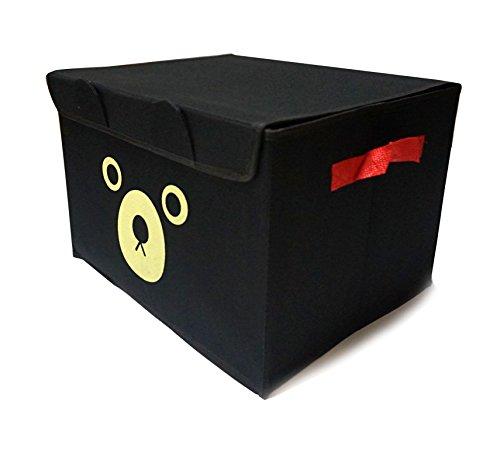 Update 折りたたみ ベア フタ付き おもちゃ箱 30リットル 収納ボックス 本棚 (ブラック)