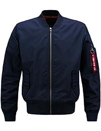 maweisong メンズファッションのフロントジップロングスリーブ軽量ボンバージャケット