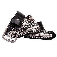 パンクベルト ペンタグラムリベットメンズパンクスタイルロックベルト カジュアルで耐久性のあるベルト (Size : 125cm)