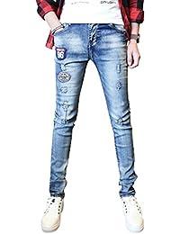 (リスキス) riskiss メンズ ファッション アメカジ パッチワーク ジーンズ ウオッシュ 加工 ダメージ デニム M L XL