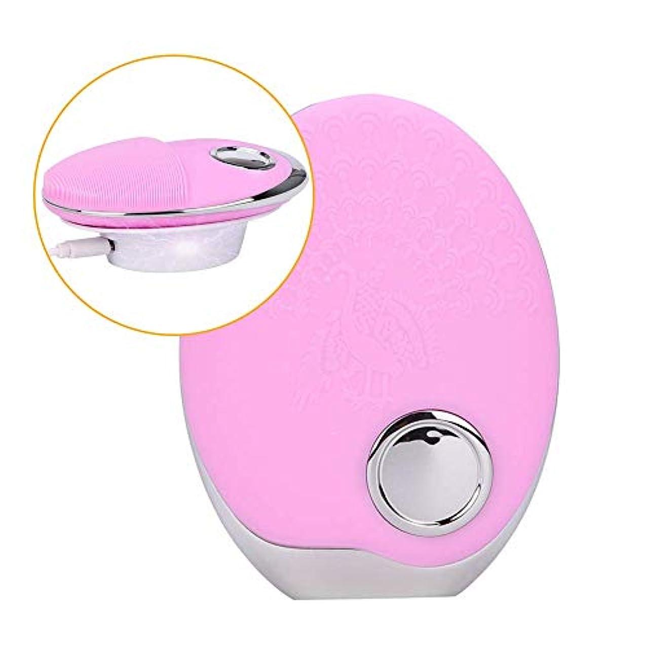 蓮物理ピックSOUTHTECH 光子活性化クレンジング器具 顔の清潔になるブラシ、3色LEDの光子ライトが付いている超音波無線充満表面剥離のブラシのシリコーンの防水マッサージャー (桜ピンク)