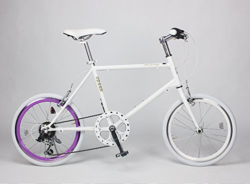 21Technology ミニベロ 20インチ クロスバイク CL20 シマノ製6段変速ギヤ付き (ホワイト・パープルリム)