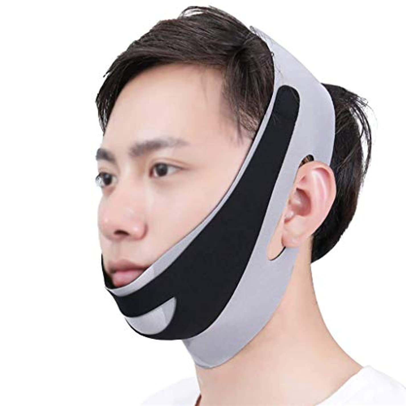 荒野定刻邪魔するフェイスアンドネックリフト術後弾性フェイスマスク小さなV顔アーティファクト薄い顔包帯アーティファクトV顔ぶら下げ耳リフティング引き締め男性の顔アーティファクト