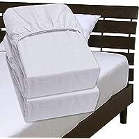 メーカー直販 綿平織りボックスシーツ 綿100% ワイドダブル 150×200×30cm ホワイト 同色2枚組