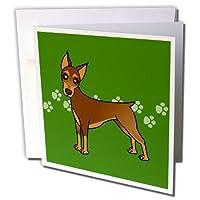 Janna Salak Designs犬–かわいいDoberman Pinscherレッドコート–Cartoon Dog–グリーンwith Pawprints–グリーティングカード Set of 12 Greeting Cards