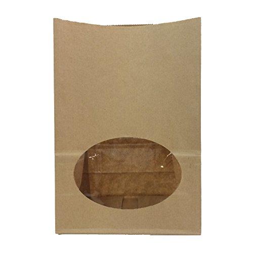 ヘイコー 紙袋 窓付 S1F エンボス 未晒 クラフト 12x6.5x17.5cm 50枚