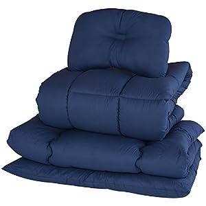 山善(YAMAZEN) 布団セット 4点 シングル 抗菌防臭 きめ細やか ピーチスキン加工 (掛け布団 敷き布団 枕 収納ケース) ネイビー