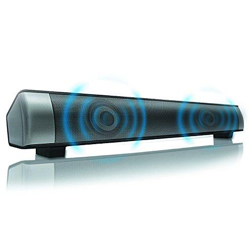 Mimiry 高音質 ワイヤレススピーカー サウンドバー 日本語取扱説明書付き【技適マーク取得済み / Bluetooth / microSD対応 】M-012 (シルバー)