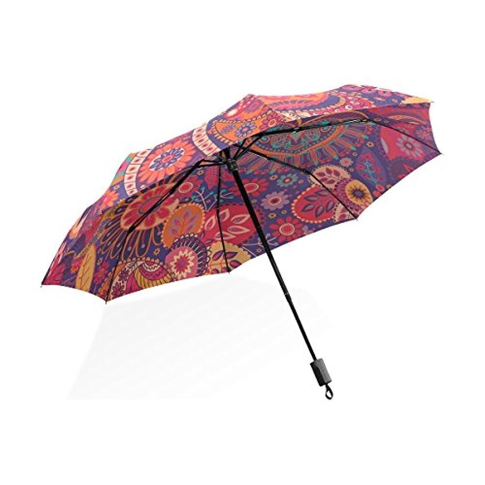 目覚めるチャンバー降伏HMWR(ヒマワリ) ビンテージ レトロ クラシック 復古風 優雅 エレガント ボヘミア ペイズリー柄 花柄 和柄 和風 レディース 女性用 女の子 三つ折り傘 折りたたみ傘 耐強風 軽量 撥水性 大きい 手動開閉 雨傘 日傘 晴雨兼用 携帯用 かさ
