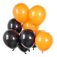 Perfk 約40個 バルーン 風船 リボンロール パーティー ハロウィン クリスマス 装飾 2色選べ  - ブラック&オレンジ