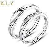 K.L.Y 愛の証 ペアリング ジュエリーレディースリング 純銀指輪 メンズリング キラキラ結婚 婚約指輪 フリーサイズ 調整可 ( 個別販売 )