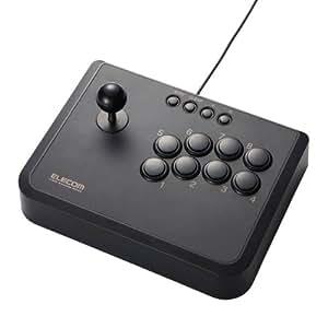 ELECOM アーケードスティック USB接続 2軸10ボタン 【プレステ3にも対応】 ブラック JC-AS01BK