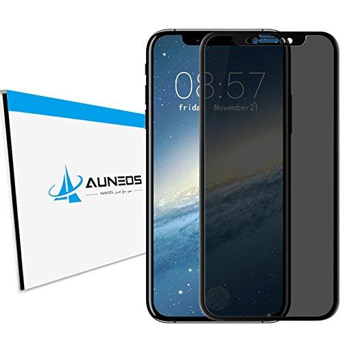 『覗き見防止』AUNEOS iPhone X フィルム のぞき見防止 炭素繊維 目隠し 日本旭硝子素材 3D Touch対応 アイフォンテン 強化ガラス プライバシー 保護 0.2mm 指紋防止 アイフォンX 保護フィルム 貼付け簡単 (iPhone X, 黒い)