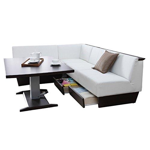 暮らしのデザイン 座面下に引き出しが付いたソファーダイニング+昇降式テーブル4点セット テーブル ブラウン