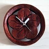 アジアン・バリ木彫り・時計:プルメリアの丸くて手頃サイズなかわいい時計新登場!