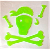 Glow-in-the-Dark Halloween Decoration Window Gel Cling - Pirate Skull & Crossbones (4.75 Tall) by Halloween Decoration