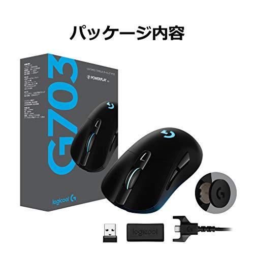 『Logicool G ゲーミングマウス ワイヤレス G703d ブラック LIGHTSPEED 無線 エルゴノミクス ゲームマウス LIGHTSYNC RGB POWERPLAY ワイヤレス充電 G703 国内正規品 2年間メーカー保証』の4枚目の画像