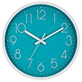 Modern Wall Clock, Silent Non-Ticking Decorative Battery Operated Wall Clocks for Living Room, Office, Bathroom, Kitchen, Thicken Plastics Frame Glass Cover (Cyan)