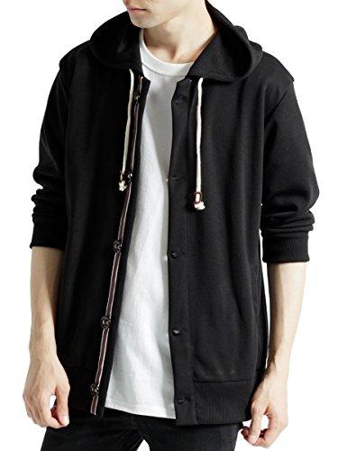 (モノマート) MONO-MART 七分袖 パラシュート釦 パーカー ゆる 7分袖 MODE サマー メンズ ブラック Lサイズ
