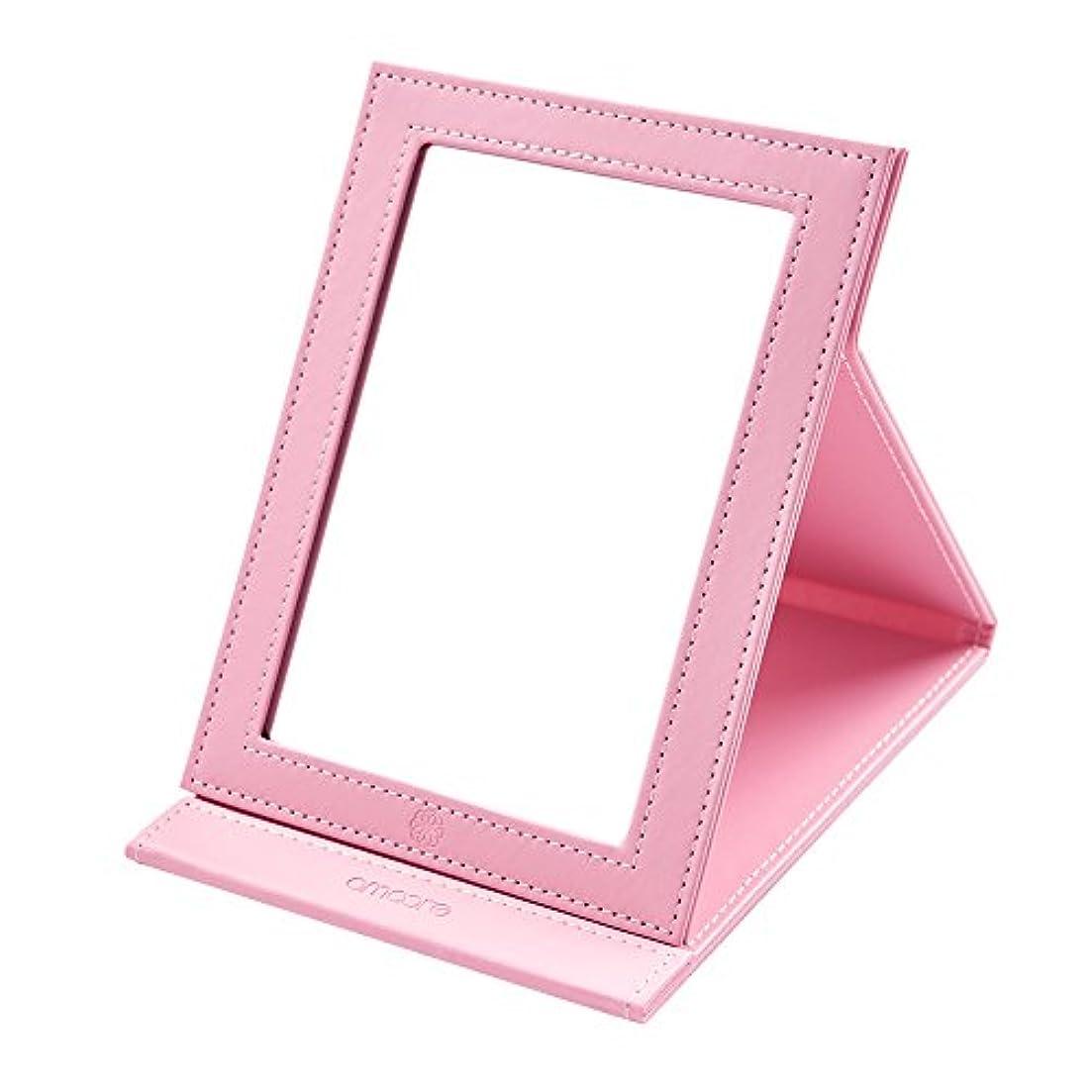 amoore 化粧鏡 卓上スタンドミラー 折りたたみミラー 角度調整 上質PUレザー使用 (ビッグ, ピンク)
