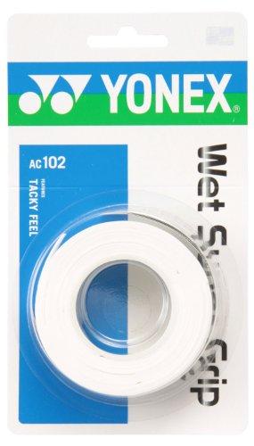 ヨネックス(YONEX) テニス バドミントン グリップテープ ウェットスーパーグリップ (3本入り) AC102 ホワイト