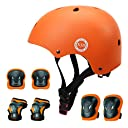 XJD 自転車 ヘルメット こども用 キッズプロテクターセット 調節可能 超軽量 高剛性 通気性 自転車 サイクリング 保護用 巾着袋付き (オレンジ, S:48~54cm)