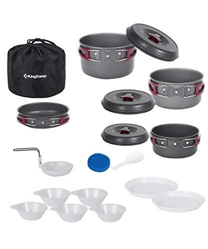 KingCamp キャンプ クッカーセット 鍋 セット アルミ 4~6人用 調理器具 収納袋付き BBQ用 アウトドア KP3912