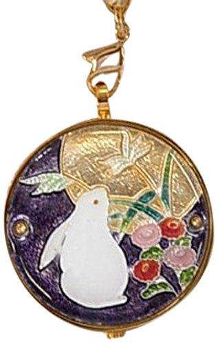 懐中時計 日本製 七宝 月見うさぎ(紫)恋うさぎシリーズ【きもの山喜】