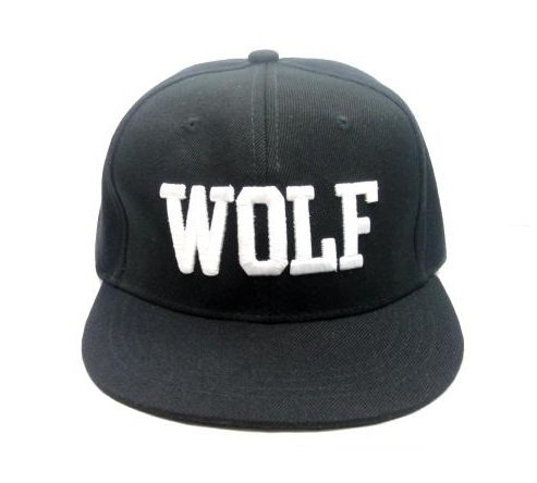 シンプル WOLF ロゴ刺繍 BBキャップ B系 B-BOY ヒップホップ 平らつば 帽子 カジュアル ストーリート系 ファッション小物・ファッション雑貨 メンズ レディース ユニセックス 男女兼用 カラー:黒/ブラック
