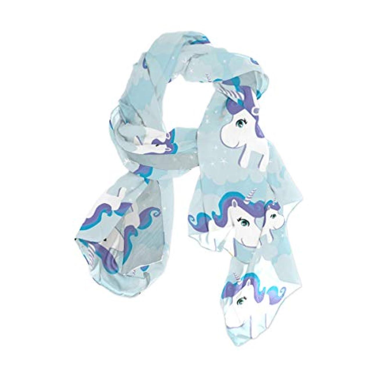 証拠名声気分が悪いユサキ(USAKI) スカーフ レディース 大判 かわいい ユニコーン 馬柄 ブルー ストール 春夏秋冬 UVカット 冷房対策 シルク 肌触り ショール パーティー 90×180cm
